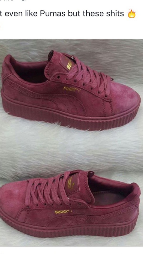 cebf7ea2eddc shoes burgundy puma sneakers rihanna style.