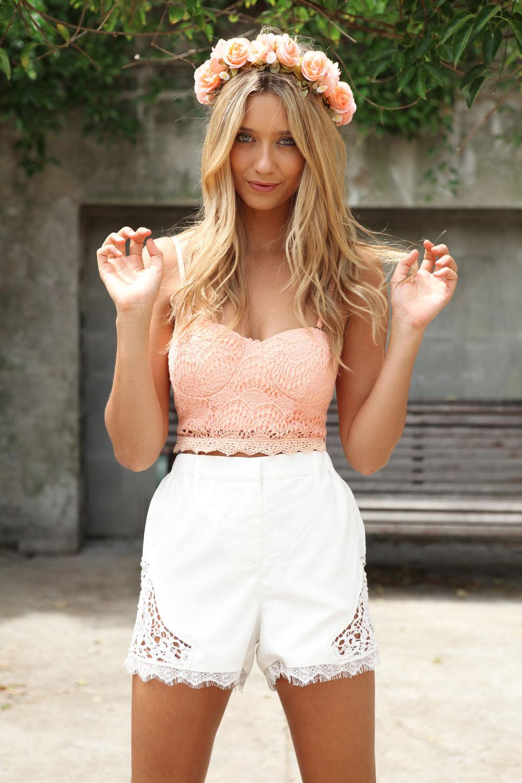 SKIRT Coal Lace Shorts - White - $42.00