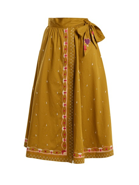 skirt wrap skirt embroidered cotton tan