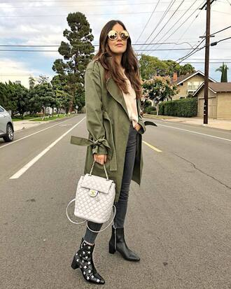 coat tumblr army green jacket trench coat denim jeans black jeans boots black boots ankle boots back backpack white backpack sunglasses
