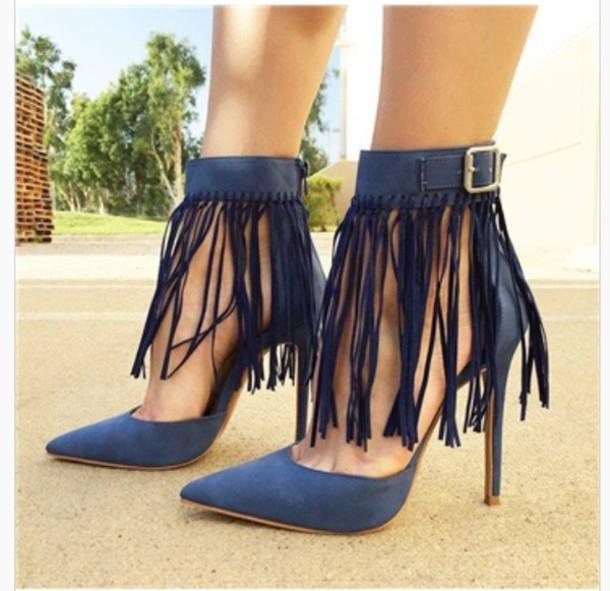 shoes, pumps, navy, blue, fringes, high