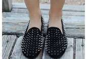 shoes,loafers,black,studded shoes