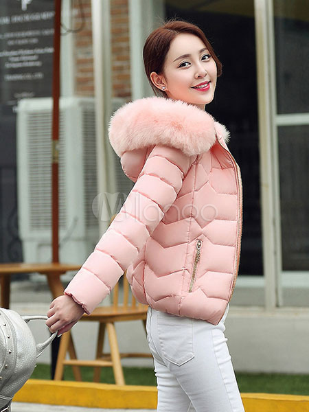 a34b64bf7 Women'S Puffer Jacket Faux Fur Hooded Short Quilted Coat For Winter