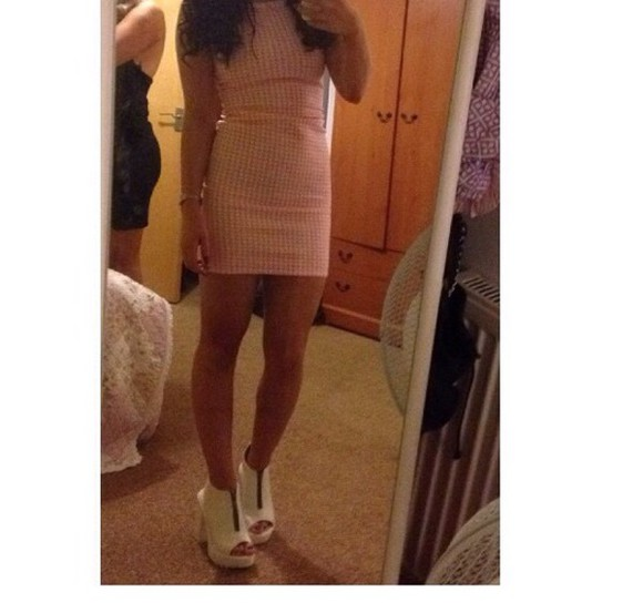 white bodycon dress dress pink checked