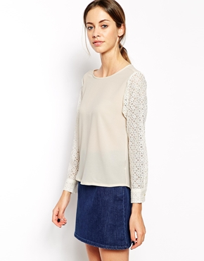 The Laden Showroom | The Laden Showroom X Even Vintage Lace Sleeve Top at ASOS
