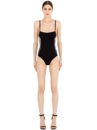 one piece swimsuit black beige swimwear