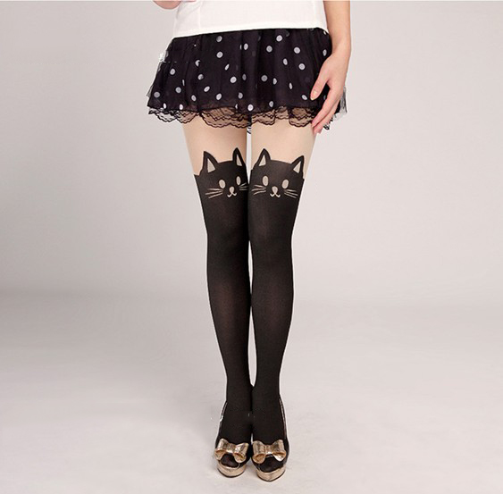 Sexy Cute Cat Tail Gipsy Mock Knee High Hosiery Pantyhose Tattoo Legging Tights | eBay