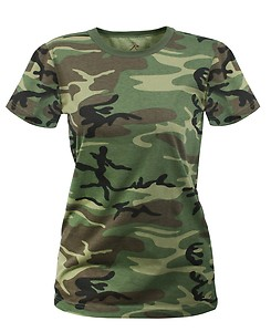 Womens t shirt camouflage woodland camo by rothco