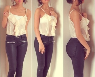 tank top off white blouse off-white beige summer frill black leather pants leather pants white pants jeans shirt