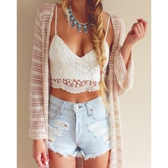 shorts accessories necklace cardigan beige white lace crop tops high waisted denim ripped sheer
