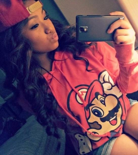 jacket mario snapback long hair selfie