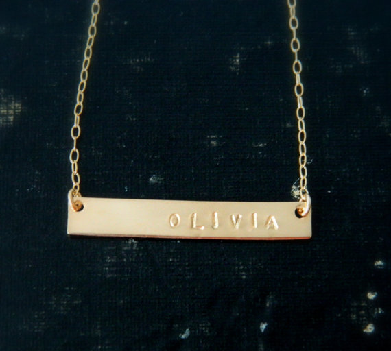 Gold Nameplate Necklace Gold Bar Necklace by camilaestrella