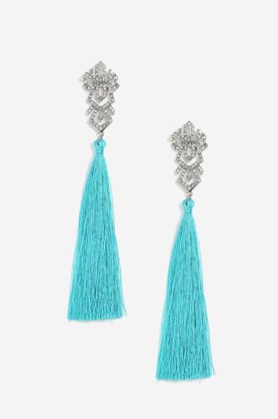 Topshop tassel earrings turquoise jewels