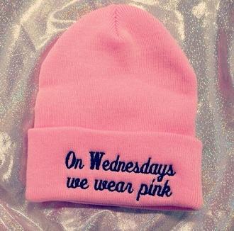hat mean girls on wednesdays we wear pink pink beanie