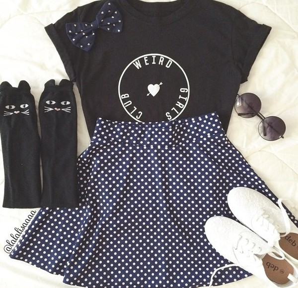skirt polka dots skater skirt polka dots skirt socks sunglasses