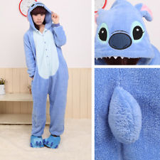 Blue disney stitch&pink angel lilo,pajamas with slipper,costume,pyjamas,jumpsuit | eBay
