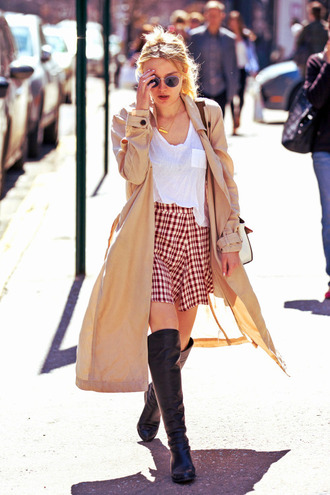 skirt coat dakota fanning spring outfits