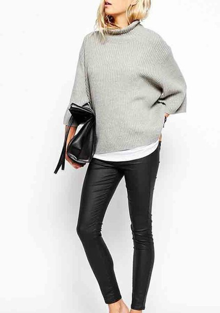 Sweater: grey turtle neck, grey turtleneck dress, grey turtleneck ...
