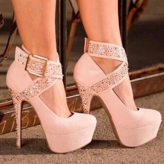 shoes pink girly heels glitter fashion