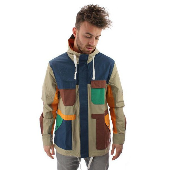 string style coat guys menswear male colour patch colourful hipster streetwear block colour block drawstring patches colour blocked
