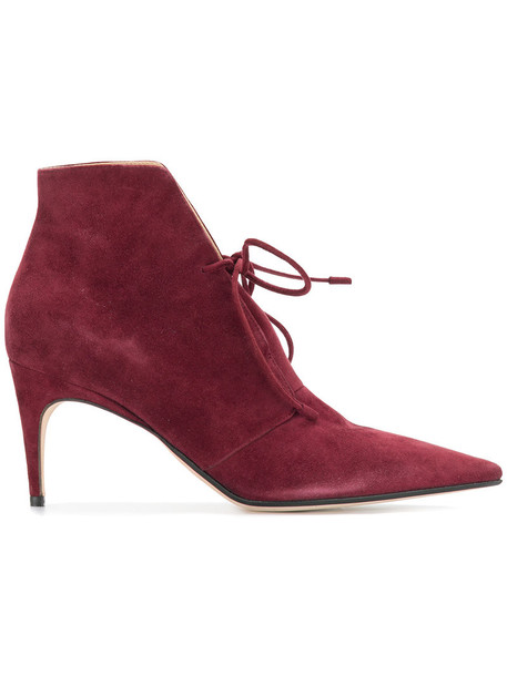 Sergio Rossi women ankle boots leather suede red shoes