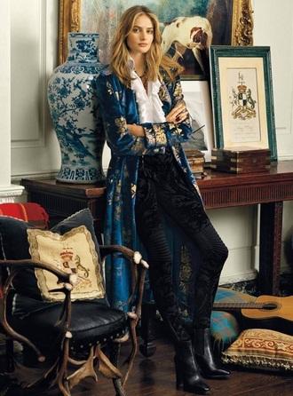 coat raulph lauren velvet light blue duster metallic floral blue gold