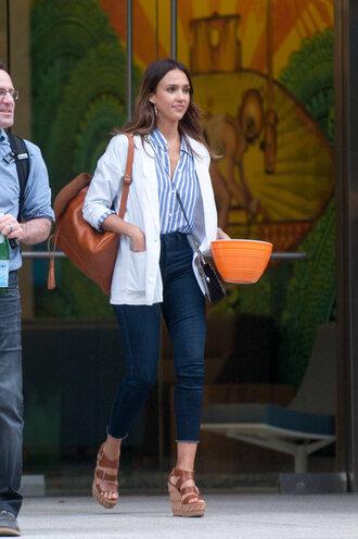 jeans stripes striped shirt jessica alba wedges denim blazer jacket purse shirt top blouse
