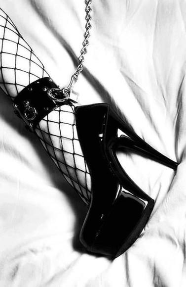 cuff shoes platform high heels goth anklet ankle cuff bondage