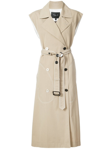 DEREK LAM coat trench coat sleeveless women nude cotton
