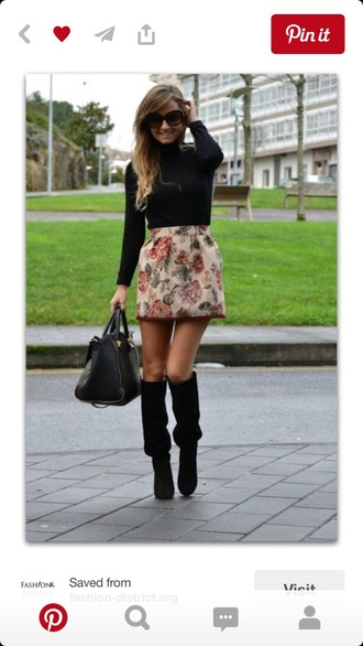 skirt floral structured autumn/winter