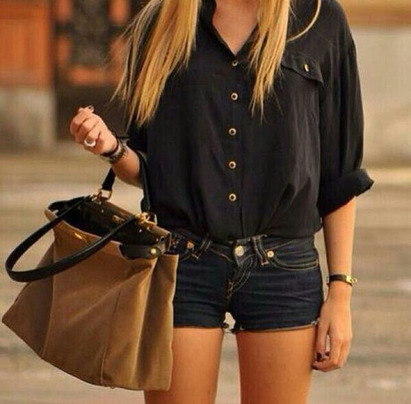 blouse black blouse black top dark colored jean shorts black button down cute ) loose fit