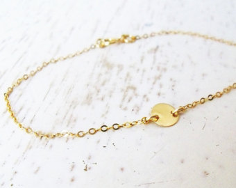 Gold dainty 14 kt gold filled bracelet with small moon charm moon bracelet, crescente gold filled bracelet everyday gift minimalist moon 068