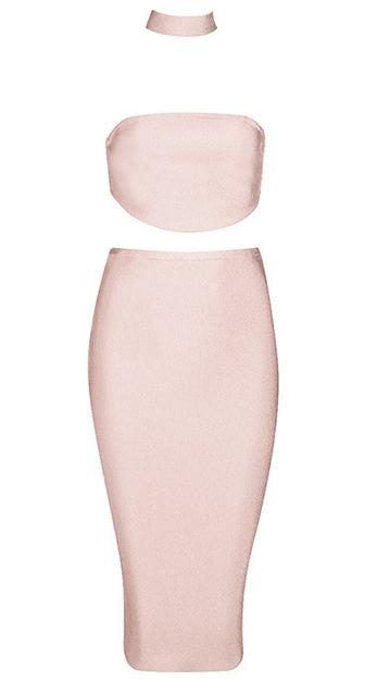 Choker Neck Midi Two Piece Bandage Dress Nude