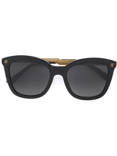Gucci Eyewear metal women sunglasses gold black