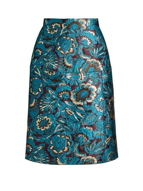 Dolce & Gabbana skirt pencil skirt jacquard floral blue