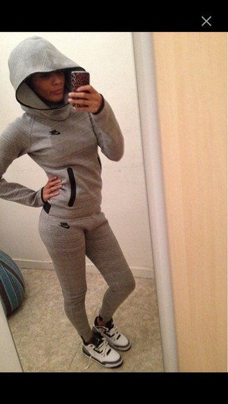 hoodie sweatpants jumpsuit sweater nike sportswear grey baddie