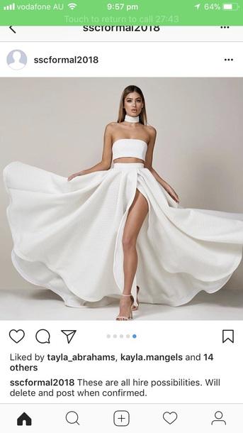 dress white two piece dress set skirt crop