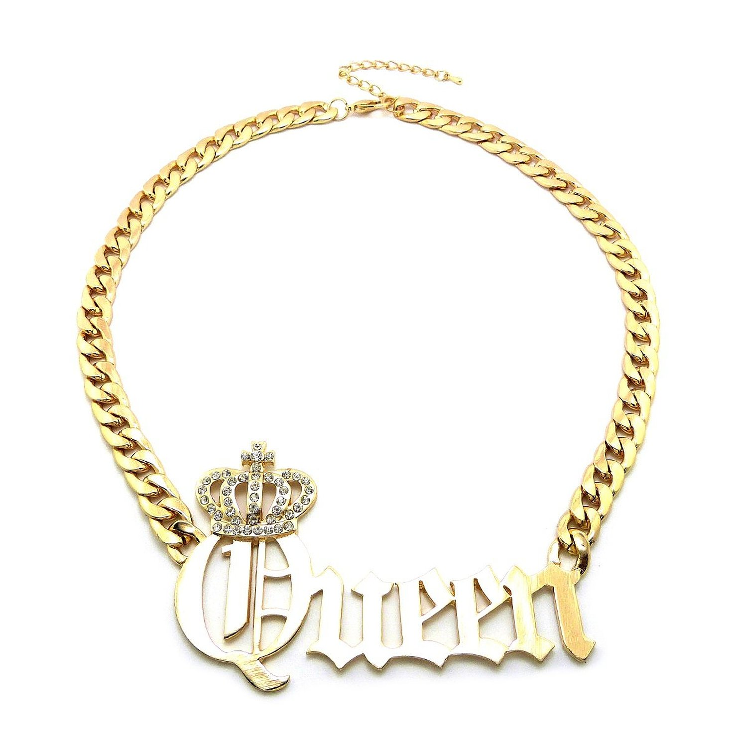 """Amazon.com: new celebrity style 'queen' pendant 10mm/16"""" link chain fashion necklace rn1022g: sports fan necklaces: jewelry"""