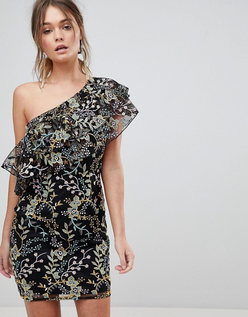 5524e0d7d05 Dolly & Delicious Floral Embroidered One Shoulder Ruffle Mini Dress at asos .com