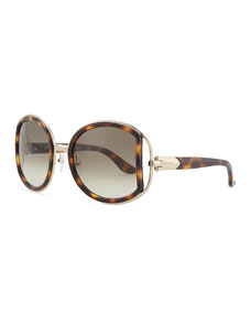 Round Sunglasses with Buckle Detail, Dark Tortoise