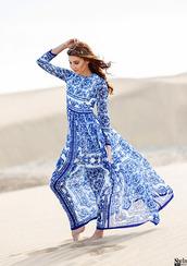 dress,printed maxi dress,maxi dress,printed dress,long sleeve dress,long sleeve maxi dress,blue dress,the mysterious girl,blogger