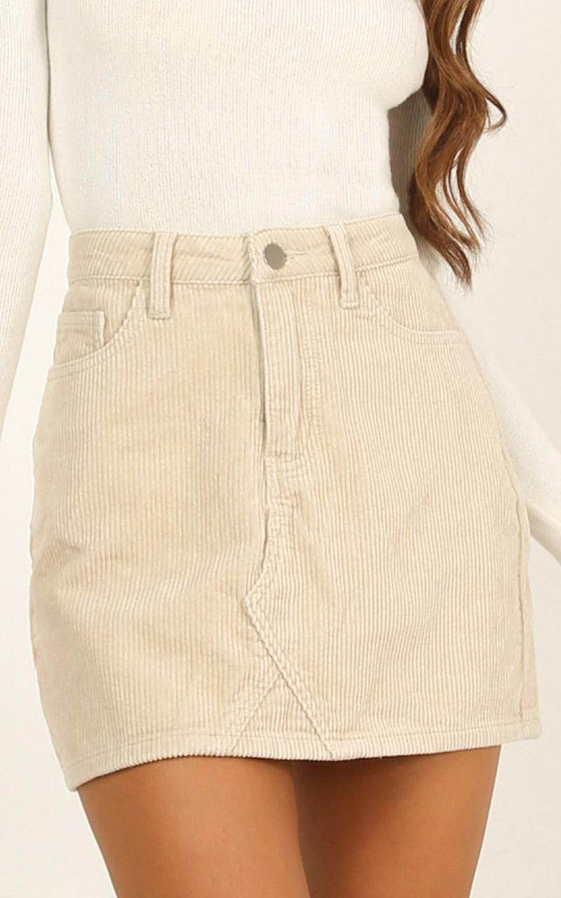 Keep It Hush Skirt In Beige Cord