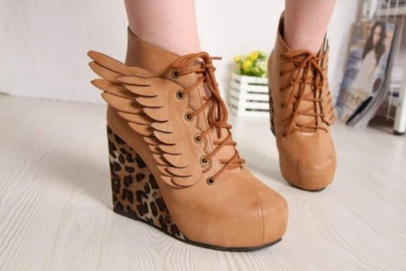 shoes wedges brown leopard wings high heels wing leopard print wings shoes platform shoes angels wings