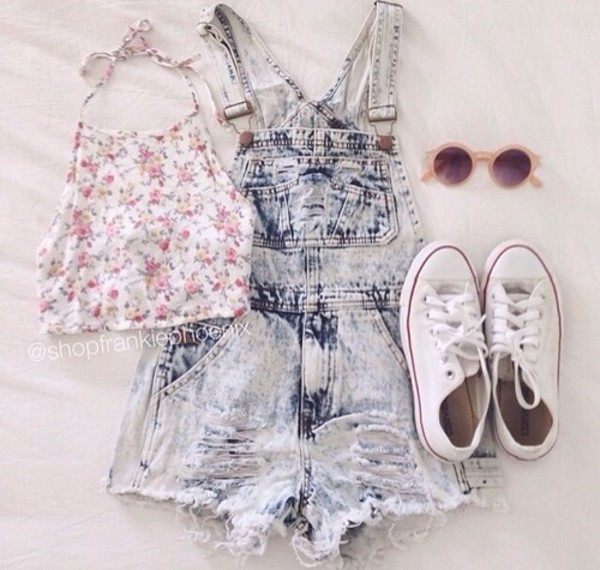 shirt flowers girly romper floral top denim overalls white sneakers crop tops pink top