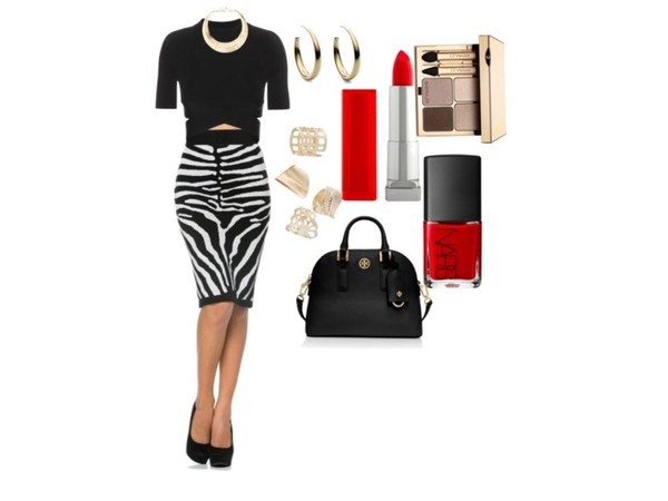 skirt style zebra print fashion fall outfits top crop tops necklace earrings lipstick t-shirt