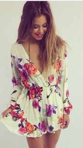 floral romper,romper,long sleeves,summer outfits,dress,spring,nude,flowers,long sleeve romper,long sleeve floral wrap dress