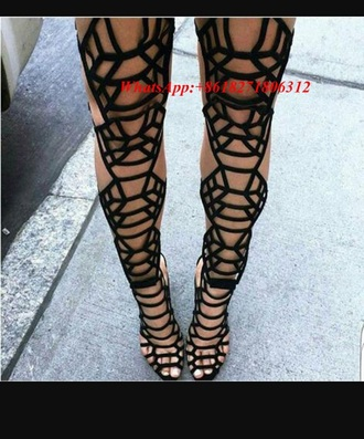 shoes overknee heels overknee high heels lace up summer heels black cut-out cut out heels fashion overknee cut out