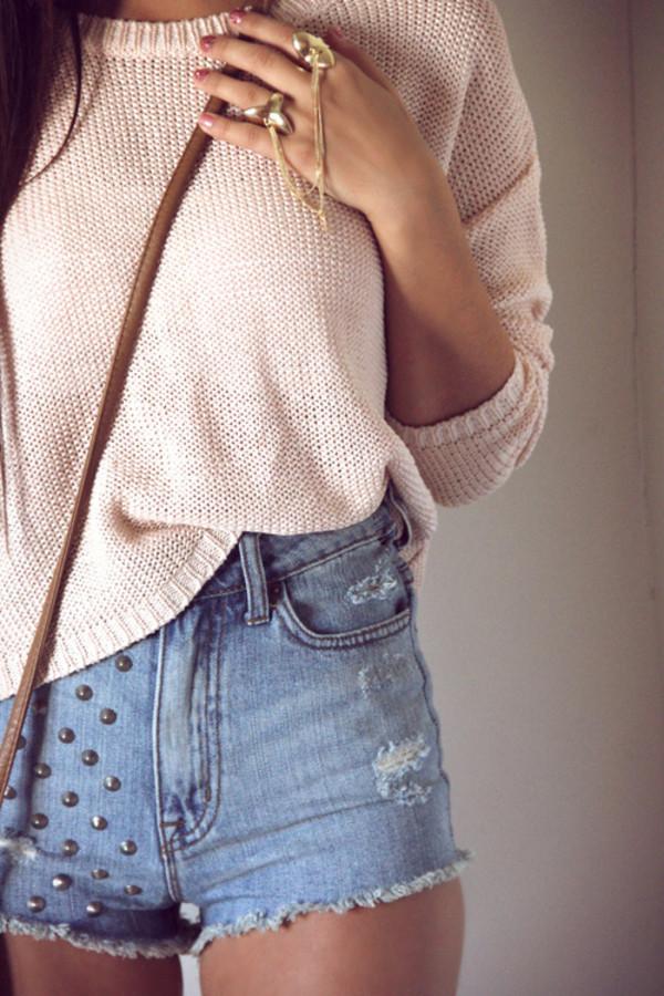 shorts stud denim shorts sweater pink denim High waisted shorts sweatshirt Accessory studs studded shorts pullover pullover beige style warm warm sweater