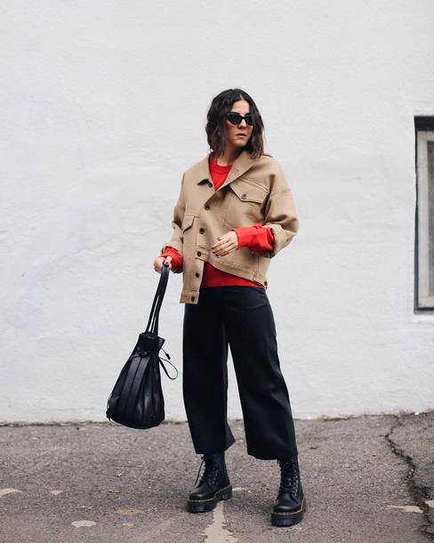 jacket tumblr nude jacket sweater red sweater pants black pants cropped pants culottes boots black boots sunglasses bag black bag