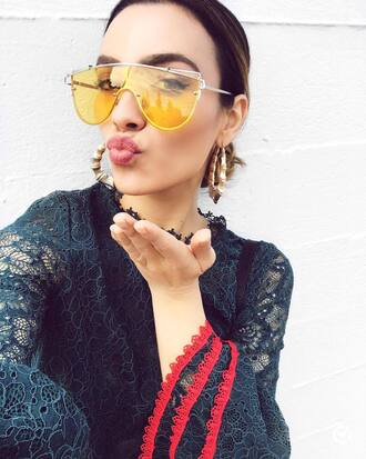 sunglasses tumblr accessories accessory yellow sunglasses earrings hoop earrings gold earrings jewels jewelry